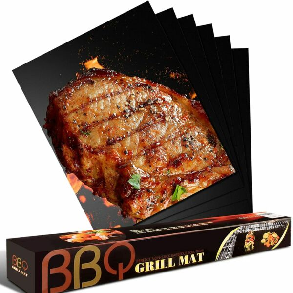 Set of 8 BBQ Grill Mats Outdoor Cooking Baking Non Stick Reusable Grilling Mat