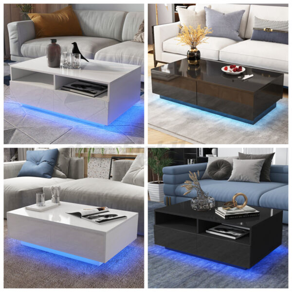 Modern High Gloss LED Coffee Table w 2 Drawers End Table White Black Furniture