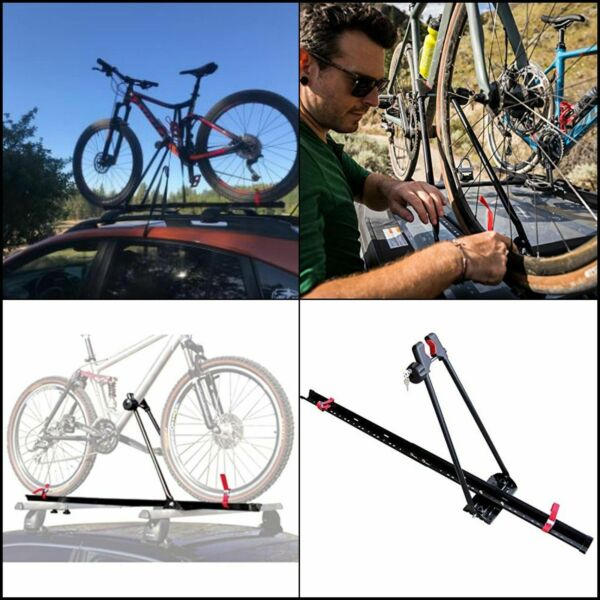 Bike Rack For Car Single Bicycle Carrier Trailer Lockable Upright Roof Mount $56.22