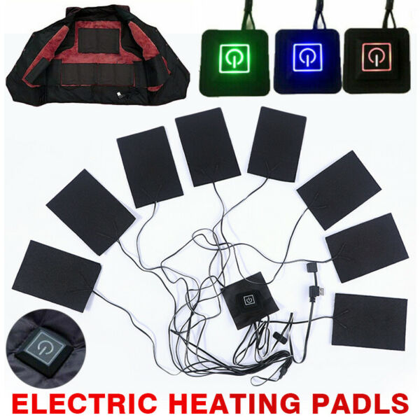 Thermal Jackets USB Electric Heating Pads 8pc Clothes Heater Vest Winter Warmer $13.18