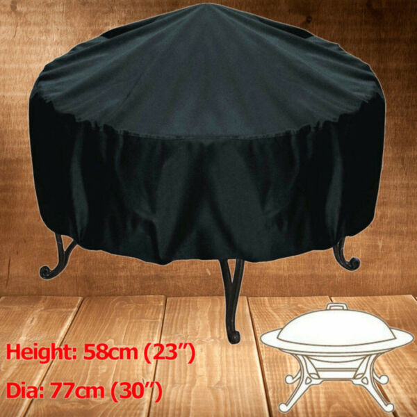 30quot; Round Black Fire Pit Cover Waterproof UV Protector Grill BBQ Patio Cover