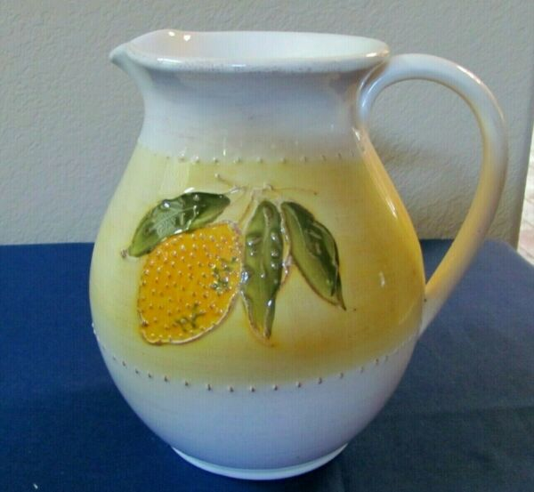Large Crate and Barrel Lemon Design Pitcher Made in Italy