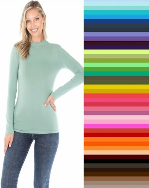 Womens Mock Turtleneck Long Sleeve Soft Cotton Solid Stretch T Shirt Top S M L $11.95