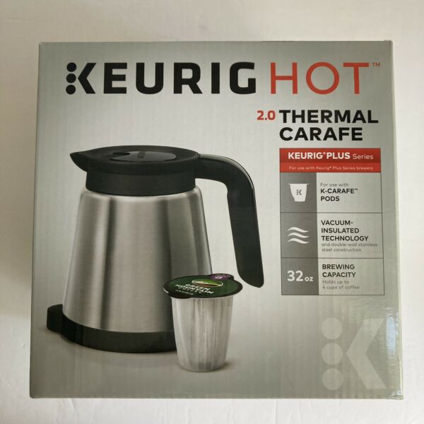 New Keurig Hot 2.0 Stainless Steel Silver 4 Cup 32oz Thermal Coffee Pot Carafe
