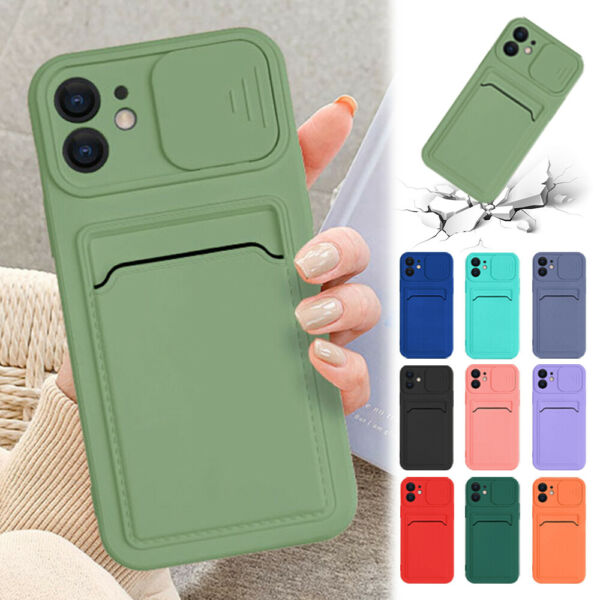 For iPhone 11 12 Pro Max XS XR 8 7 Case Silicone Wallet Card Holder Slim Cover