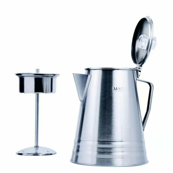 Percolator Coffee Pot Stainless Steel 10 Cup Outdoor Camping Flip Open Top