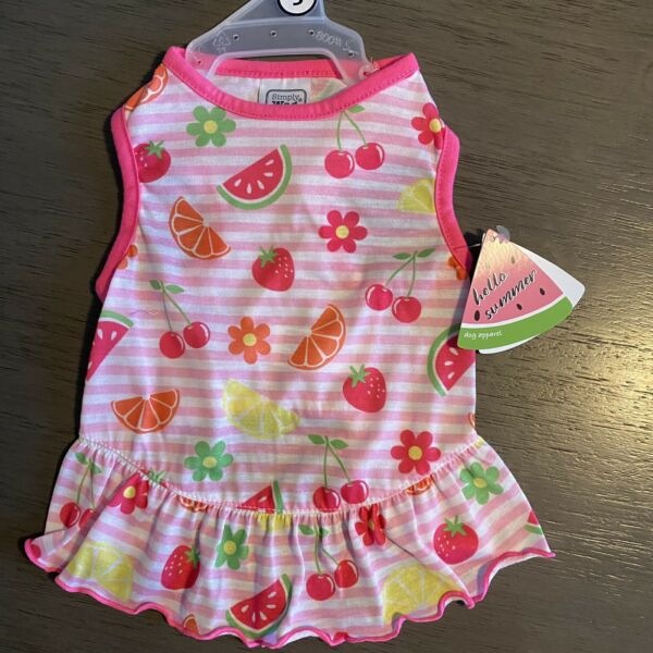 Simply Wag Pink Stripe quot;SUMMER FRUITquot; Dress Puppy Dog SMALL $16.50