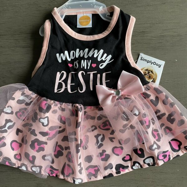 SIMPLY DOG quot;MOMMY IS MY BESTIEquot; Pink Animal Print Dress Puppy Dog SMALL $16.50