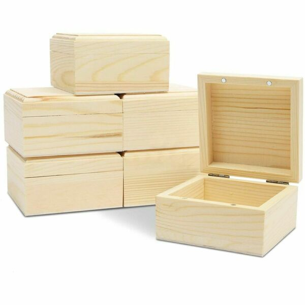 6 Pack Unfinished Natural Wooden Boxes with Hinged Lid for Jewelry and DIY Craft