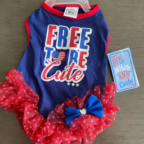 SIMPLY WAG Red Blue 4th OF JULY quot;FREE TO BE CUTEquot; TUTU DRESS Puppy Dog SMALL $16.50