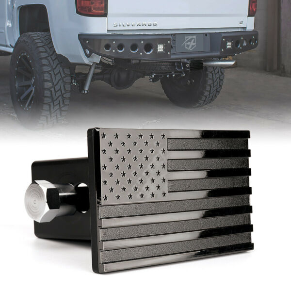 Xprite Black Aluminum Tow Trailer Hitch Cover w American Flag fits 2quot; Receivers $39.99
