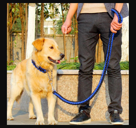DOUBLE STRAND ROPE LARGE DOG BELT PET SAFETY DOG LEASHES METAL CHAIN BUCKLE $21.99