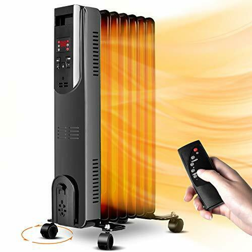 Oil Filled Radiator Space Heater 1500W Portable Electric Heater w Remote Digi... $63.01