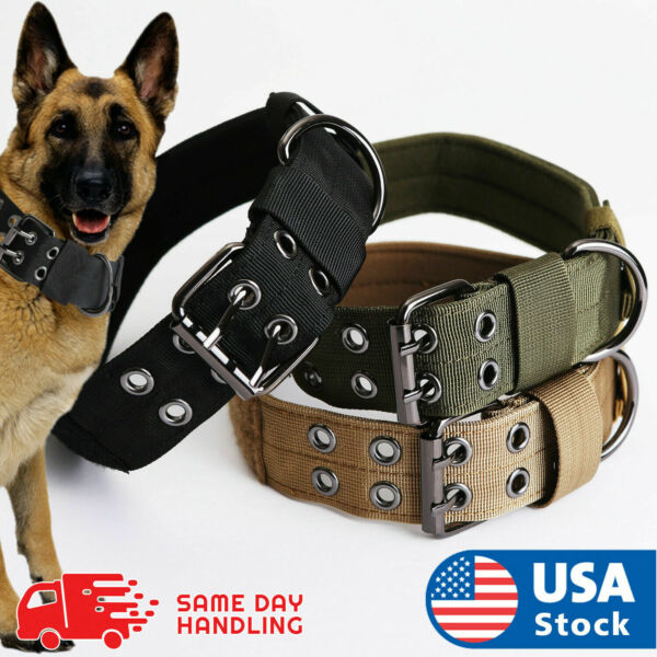 Tactical Heavy Duty Nylon Large Dog Collar Collar K9 Military with Metal Buckle $9.94