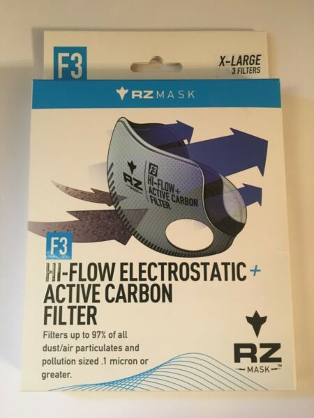 RZ MASK F3 CARBON HIGH FLOW FILTERS 3 PACK SIZE X LARGE NIB $30.00