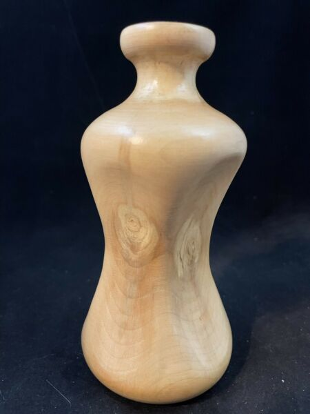 Hand Carved Wooden Vase 5 1 2quot;Tall Aspen Wood Signed 1983
