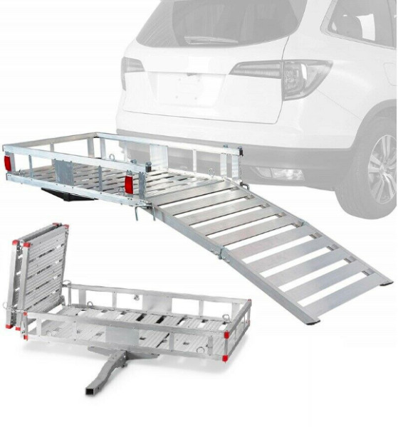 Hitch Mount Foldable Mobilty Scooter Rack Cargo Carrier Basket with Ramp 500 LB $599.89
