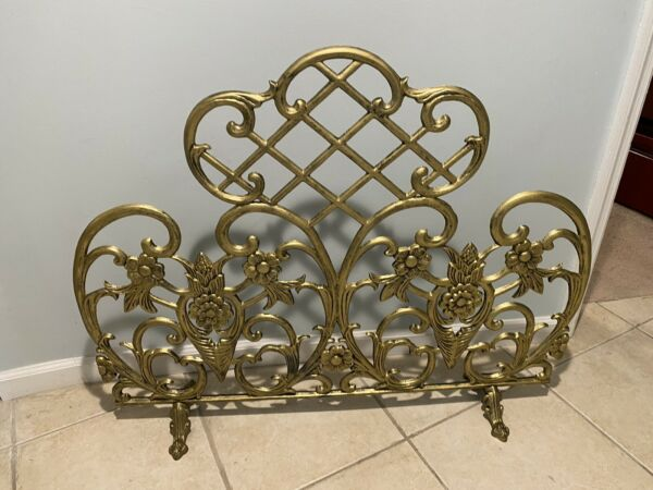 Vintage Style Brass Fireplace Screen Cast Iron Pre Owned