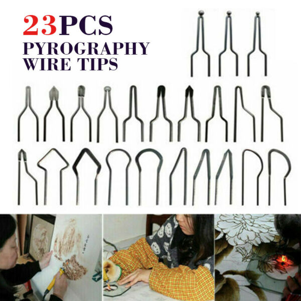 23x Pyrography Wire Tips Adjustable Woodburning Machine Accessories 30 50W