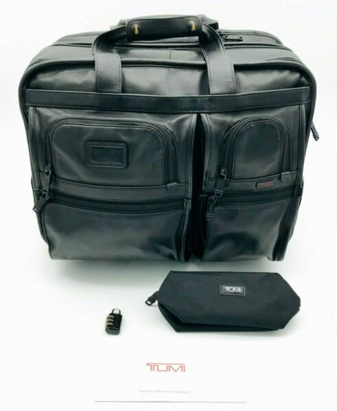 Tumi 96103DH Leather Expandable Wheeled Rolling Laptop Briefcase Carryon Bag $80.00