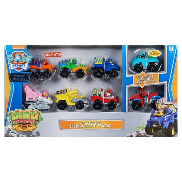 PAW Patrol Dino Rescue Dino 8 Figure Gift Pack Exclusive Ryder and Rex vehicles