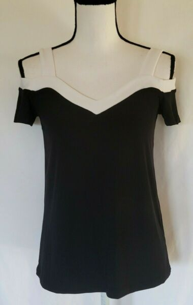 INC Women#x27;s Top Cold Shoulder in Black amp; White Size XS New