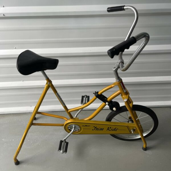 Vintage classic Stationary Bike Exercise Bicycle AMF Trim Ride 70s Yellow Nice $129.95