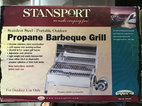 Stansport Stainless Steel Gas Barbeque Grill 129 Square Inch Cooking Surface