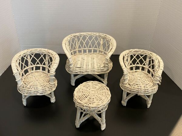 Vintage Dollhouse Doll Furniture White Wicker Loveseat 2 Chairs Coffee Table