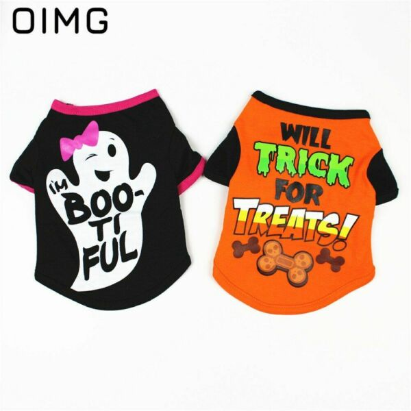 Halloween Pet Dog Clothes For Puppy Cat Vest Small Dogs Cotton Clothing T Shirt $6.98