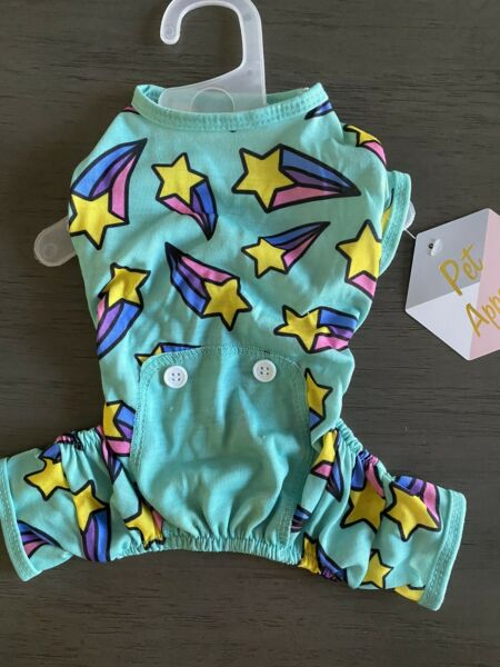 PET APPARETeal quot;SHOOTING STARSquot; Pajamas Puppy Dog small NWT $16.50