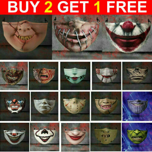 Halloween Face Mask Funny Scary Horror Fashion Washable Reusable Face Cover $6.99