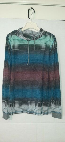 Carbon Men#x27;s Multicolor Long Sleeve Hooded T Shirt Striped Size Large $12.00