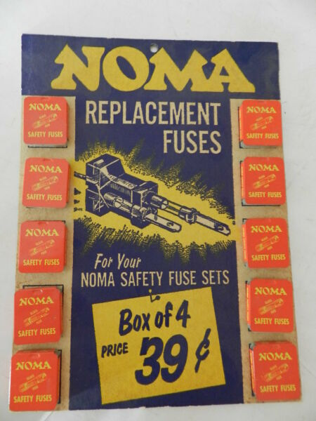 VINTAGE ADVERTISING SIGN STORE DISPLAY NOMA REPLACEMENT FUSES CHRISTMAS LIGHTS