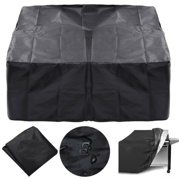 Square Black Fire Pit Cover Waterproof UV Protector Grill BBQ Patio Cover