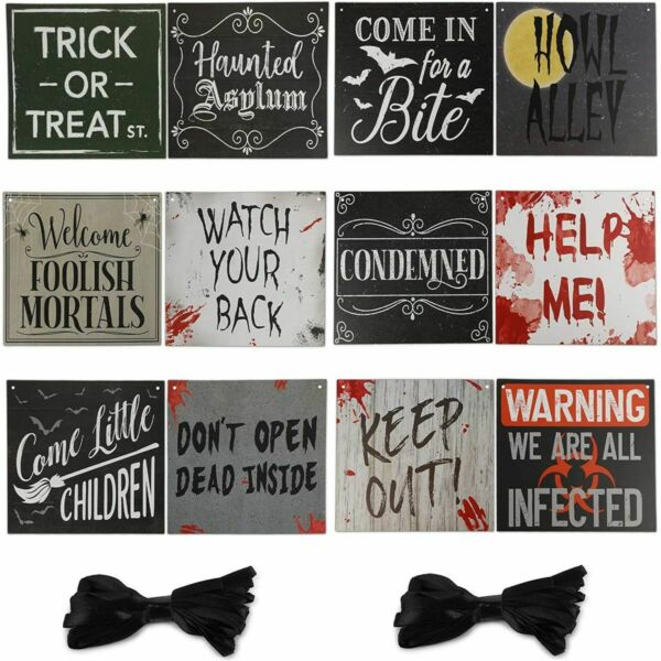 Halloween Decorations Beware Signs with Rope 11.8 x 9.8 Inches 12 Pack $12.99