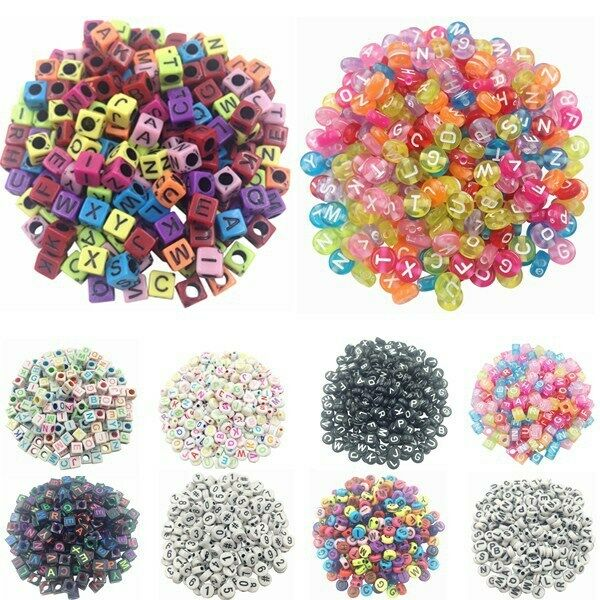 100Pcs Alphabet Letter Acrylic Spacer Loose Beads Jewelry Making DIY Necklace C $1.96