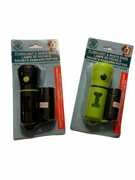 Pet Waste Dispenser With Led Flashlight Disposable Poop Bags and Belt Clip $10.99