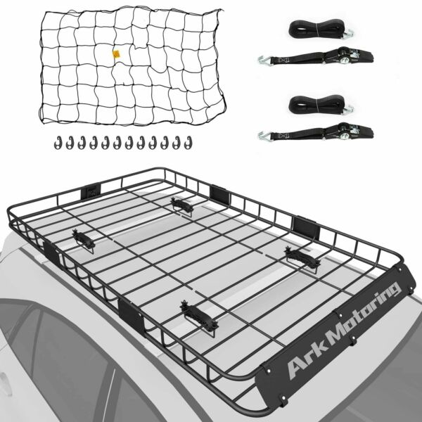 64quot; Roof Rack Cargo Carrier Luggage Basket Extension w Cargo Net Strap $157.99