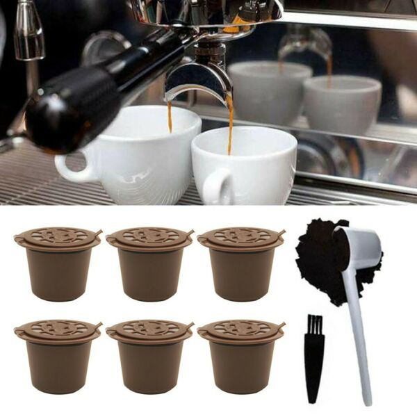 6x Reusable For Nespresso Capsule Cup Filter Pod Coffee Refillable W Spoon Brush