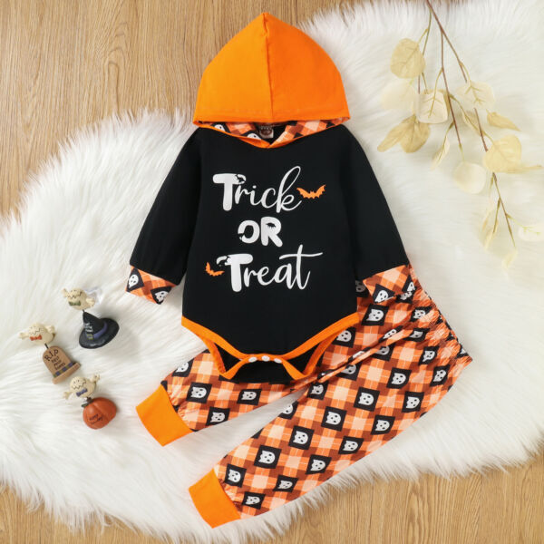 Colofity Baby Girls Boys Halloween 2pcs Clothes Set Hooded Romper and Pants