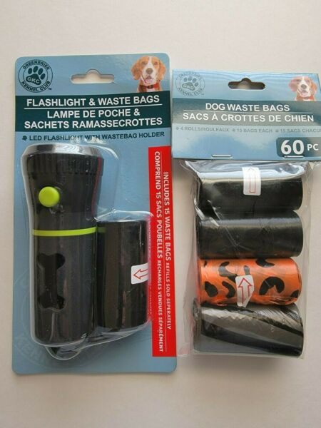 Pet Waste Dispenser w Led Flashlight Disposable Poop Bags amp; Clip 75 Bags New $10.79