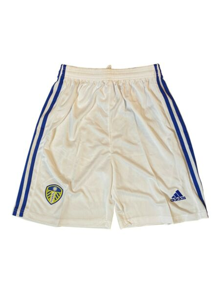 Adidas Leeds United FC White Blue Soccer Shorts Men#x27;s Size S GREAT CONDITION