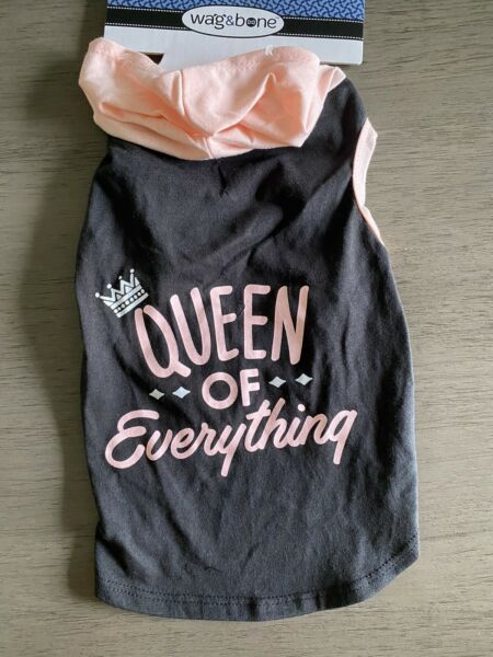 WAG amp; BONE Black amp; Pink quot;QUEEN OF EVERYTHINGquot; Hoodie Puppy Dog medium $16.50