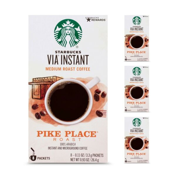 Starbucks Via Instant Coffee Pike Place Roast 4 8 count Packs 32 FREE SHIPPING