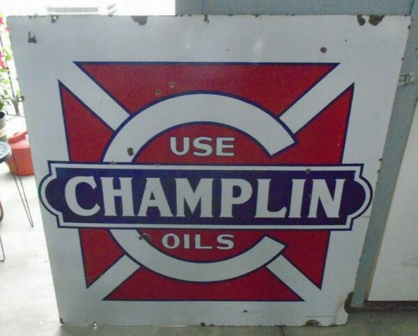 CHAMPLIN Gas and Oil Sign Porcelain 48quot; sign double sided $2700.00