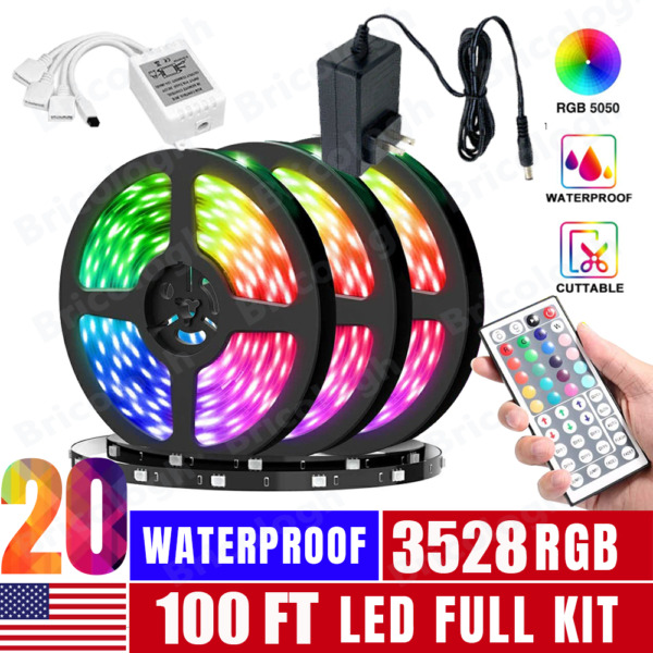 100FT Flexible 3528 RGB LED Strip Light Remote Fairy Light Room Party Waterproof