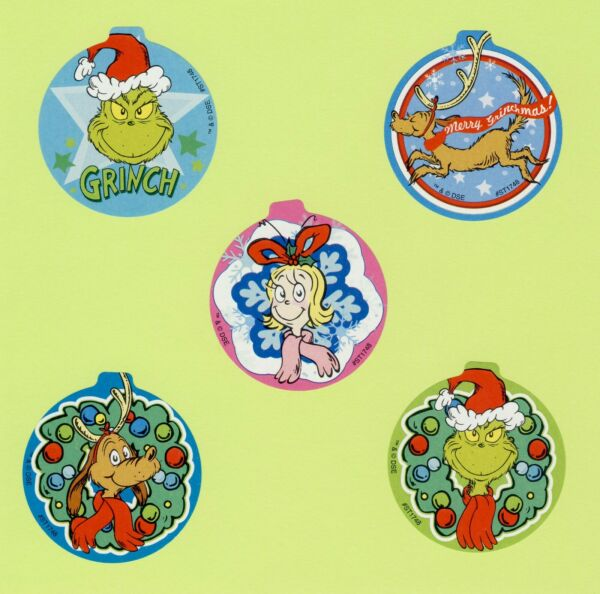 10 How the Grinch Stole Christmas Large Stickers Ornament Shaped Dr. Seuss $2.00