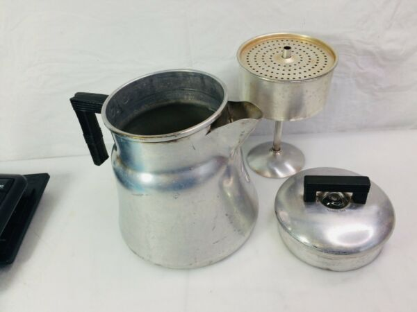 VINTAGE WEAR EVER #3008 8 CUP STOVE TOP CAMPING ALUMINUM COFFEE PERCOLATOR POT