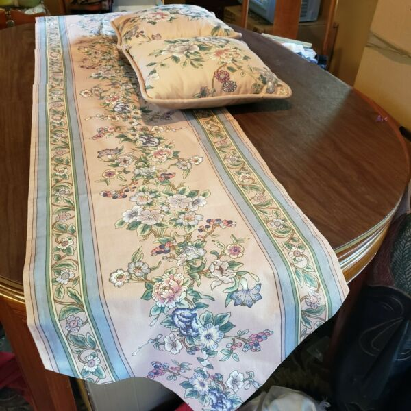 Custom Bed or Console Table Runner with 2 Matching Pillows soft pink flowers $40.00